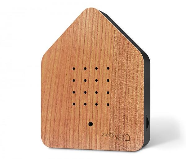 Zwitscherbox Wood Kirsche Schwarz Vogelgezwitscher mit Bewegungsmelder Vogelstimmen