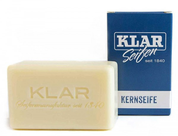 KLAR Kernseife für Hände Körper Gesicht Wäsche und Geschirr (palmölfrei) 100g