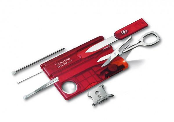 Victorinox SwissCard Lite Rot Transparent Schweizer Nagelset - mit LED-Licht und 13 Funktionen