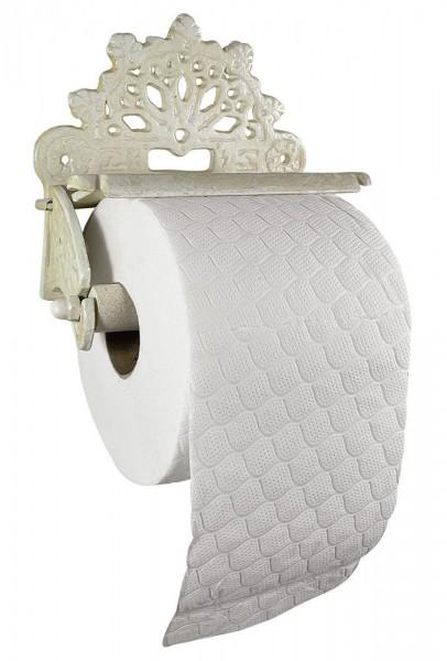 Toilettenpapierhalter Nostalgie Gusseisen Rustikal Antik-Stil Weiß Vintage