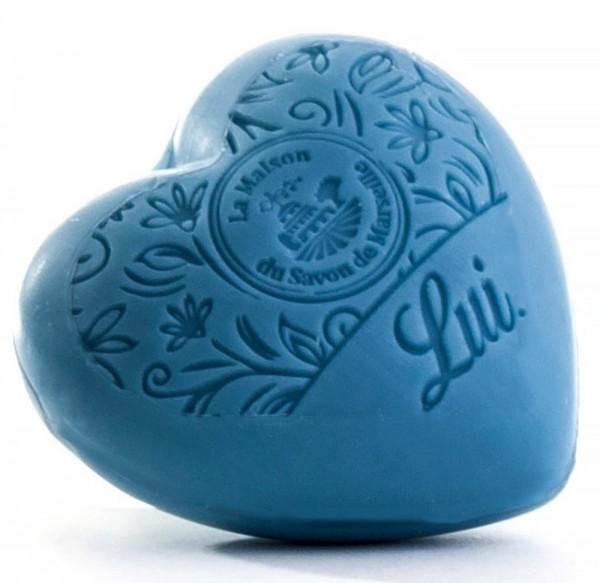 Duftseife Körperseife Herz Seife 'LUI' blau 100g Arganöl