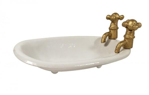 Seifenschale Badewanne Mit Wasserhahn Seifenhalter Gusseisen Weiß