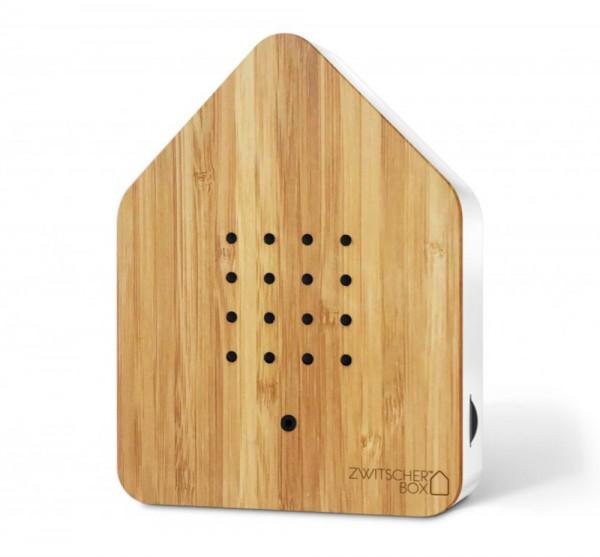 Zwitscherbox Wood Bambus Weiß Vogelgezwitscher mit Bewegungsmelder Vogelstimmen