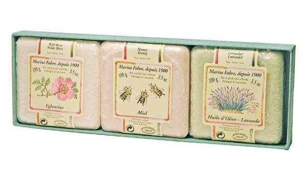 Marius Fabre 3 Gäste-Seifen Heckenrose Honig Olive-Lavendel a` 100g Geschenkbox