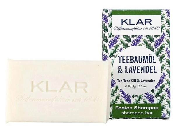 KLAR Festes Shampoo Teebaumöl + Lavendel (Gegen Schuppen) 100g