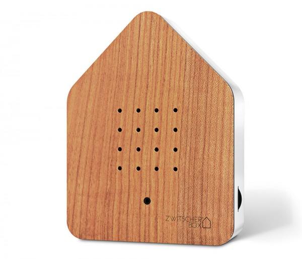 Zwitscherbox Holz Kirsche Weiß Vogelgezwitscher mit Bewegungsmelder Vogelstimmen