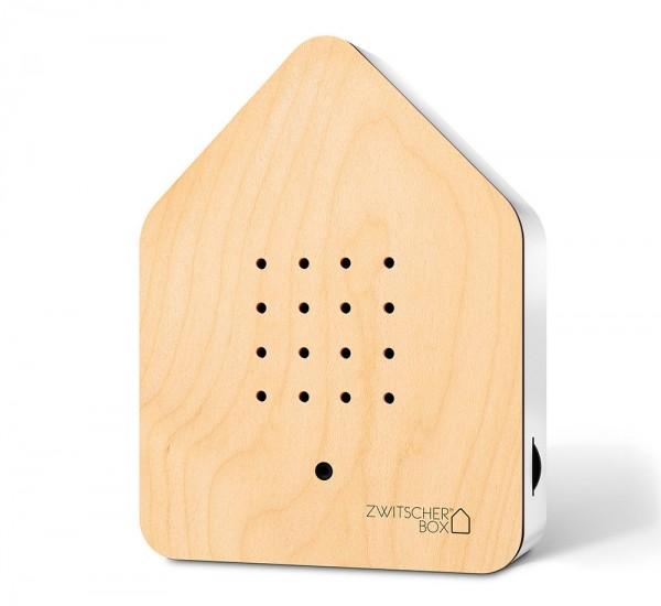 Zwitscherbox Holz Ahorn Weiß Vogelgezwitscher mit Bewegungsmelder Vogelstimmen