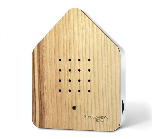 Zwitscherbox Wood Esche Weiß Vogelgezwitscher mit Bewegungsmelder Vogelstimmen