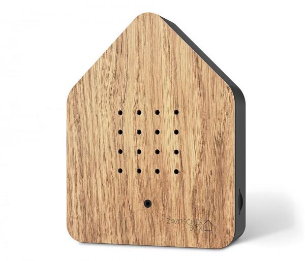 Zwitscherbox Wood Eiche Schwarz Vogelgezwitscher mit Bewegungsmelder Vogelstimmen