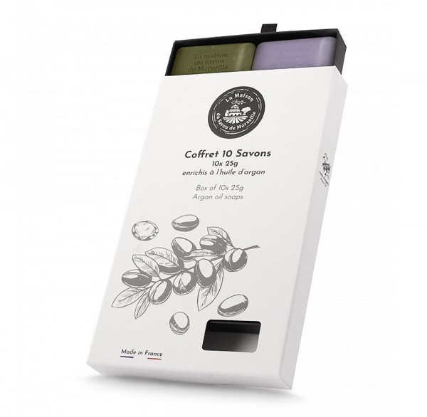 10 Verschiedene Provence Gäste-Seife Arganöl 25g Geschenkbox