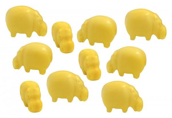10 x Seife Nilpferd Gelb Zitrone (Citron) Kinderseife Tierseife Motivseife 10x25g