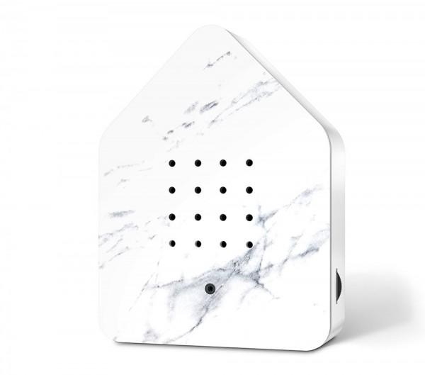 Zwitscherbox Marmor Weiß Vogelgezwitscher mit Bewegungsmelder Vogelstimmen