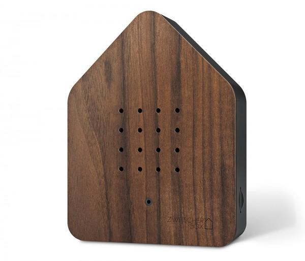 Zwitscherbox Wood Nuss Schwarz Vogelgezwitscher mit Bewegungsmelder Vogelstimmen