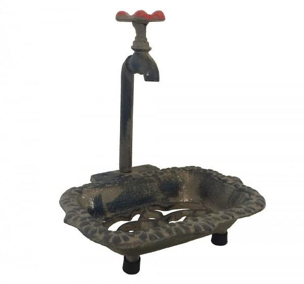 Nostalgie Seifenschale Alter Wasserhahn Seifenhalter Gusseisen Vintage Stil