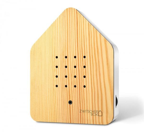 Zwitscherbox Holz Kiefer Weiß Vogelgezwitscher mit Bewegungsmelder Vogelstimmen